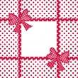 fondo rojo lunares con cintas y lazos de regalo — Foto de Stock   #15798525