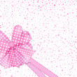 Pink gift bow and ribbons card — Stock Photo