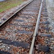 Railroad tracks headed towards small town - 图库照片