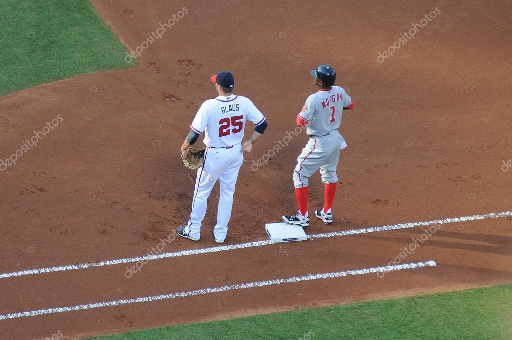 ATLANTA - JUNE 21: Nyjer Morgan on first base after getting a hit on June 21, 2010 in Atlanta.  The Braves defeated the Nationals 5-0.    Stock Photo #12109911