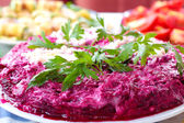 Salad Herring in a fur coat — Stock Photo