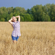 Girl in a field - Stock Photo