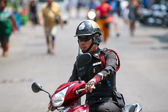 Police man on a motorbike — Stock Photo