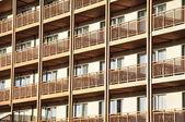 Rows of similar balkonies — Стоковое фото