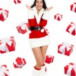 Santa flicka kreativ design — Stockfoto