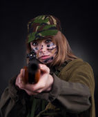 Millitary girl — Stock Photo