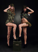 Millitary girls — Stock Photo