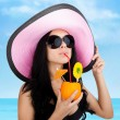 Summer vacation woman smile drink exotic tropical cocktail — Stock Photo