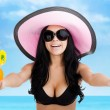 Summer vacation smile woman on beach drink tropical cocktail — Stockfoto #30293713