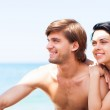 Couple on beach summer vacation — Stock Photo