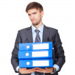 Businessman with stack blue folder upset — Stock Photo