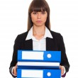 Businesswoman with blue folder — Stock Photo