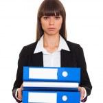 Businesswoman with blue folder — Stock Photo #30295489