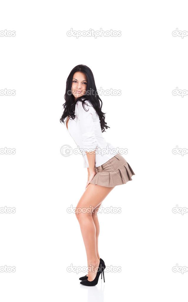 image Sexy chick se dobla en falda corta