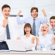 Stock Photo: Successful excited Business people group team