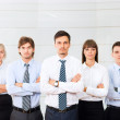 Business people group serious standing line at office — Stock Photo