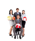 Business people group team hold gift boxes — Stock Photo