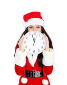 Nouvel an fêtarde tenant horloge — Photo