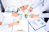 Business people hands during conference — Stock Photo