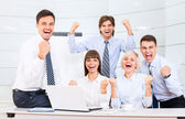 Successful excited Business people group team — Foto Stock