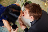 Young happy couple romantic kissing — Stock Photo