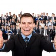 Businessman with thumbs up gesture — Stock Photo