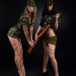 Two long legs soldier woman with sniper rifle — Stock Photo #31732911