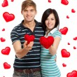 Stock Photo: Love couple valentine day heart shape