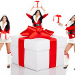 Christmas Santa girl with big gift — Stock Photo