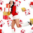 Santchristmas girl with new year gift — Stock Photo #31733495