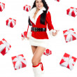 Santa christmas girl with  presents fall fly around — Stock Photo