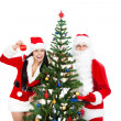 Santa Claus and christmas girl — Stockfoto