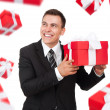 Business man hold gift box — Stock Photo
