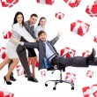 Stock Photo: Business people group team push man leader colleague sitting in chair