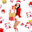Santchristmas girl with new year gift — Stock Photo #31736133