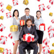Business people group team hold gift box presents — Photo
