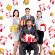 Foto Stock: Business people group team hold gift box presents