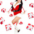 Santchristmas girl with presents fall fly around — Stock Photo #31737705