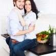 Couple at their kitchen — Stock Photo