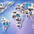 Businesspeople world map collage — Stock Photo #31738511
