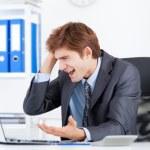 Business man working problem using laptop — Stock Photo #31739173