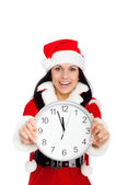 New year party girl holding clock — Stock Photo