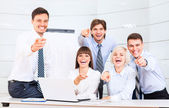 Smilling business people, team pointing at you — Stock Photo