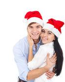 рождественский праздник счастливая пара — Стоковое фото