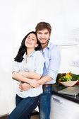 Couple at their kitchen — Stock Photo