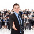 Businessman hold hand welcome gesture — Stock Photo #31742685