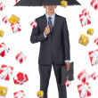 Business man hold an umbrella — Stock Photo