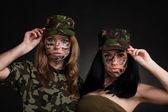 Army sexy girls — Stock Photo
