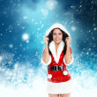 Christmas new year santa girl  — Stockfoto