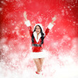 Christmas new year santa girl — Stock Photo